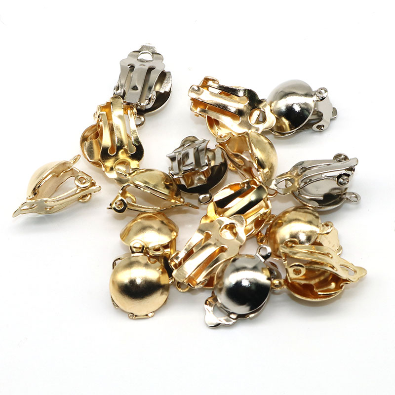 30pcs/lot 12mm Earring Diy Ear Accessories Clip On Earring Flat Gold/Silver Color Loop Clasps Clamps Connector Jewelry Making