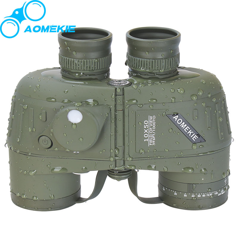 AOMEKIE 7X50/10X50 Binoculars HD BAK4 Prism Military Marine Hunting Telescope with Compass Rangefinder Nitrogen Waterproof bijia 20x nitrogen waterproof binoculars 20x50 portable alloy body telescope with top prism for traveling hunting camping
