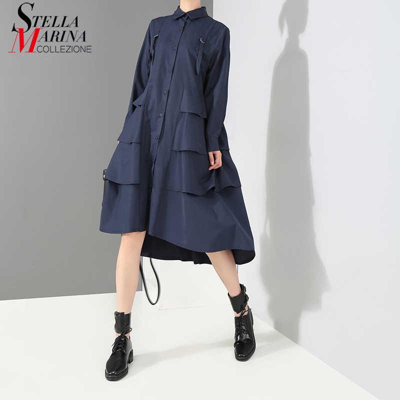 Новинка 2019, корейский стиль, женское весеннее однотонное синее платье-рубашка, женское стильное платье с длинным рукавом и оборками каскадом для вечеринки и клуба, 3807