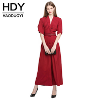 HDY Haoduoyi 2016 Summer High Waist Slim Pocket New Woman Jumpsuit Ronper Worlde V Neck Short