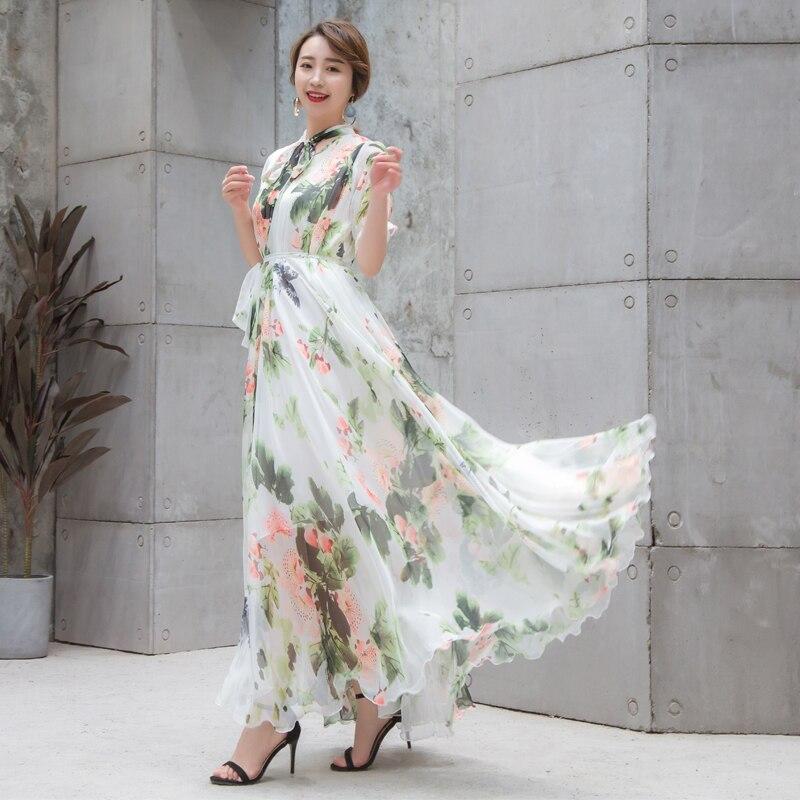 Boho piste Maxi robe grande taille femmes manches courtes noeud col Vintage imprimé Floral mousseline de soie fête vacances longue robe-in Robes from Mode Femme et Accessoires    3