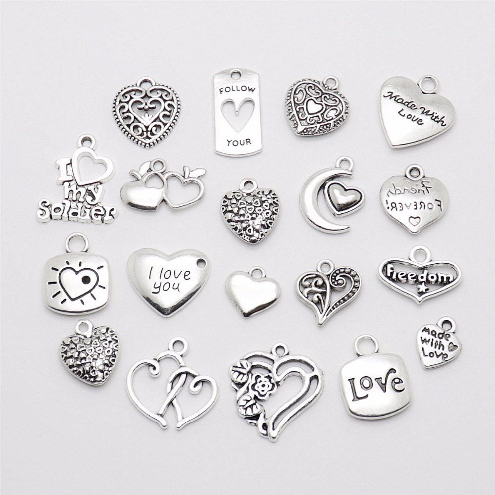 Lot 50pcs FRIEND Heart Antique Silver Charms Pendants Jewelry Making DIY 17*17mm