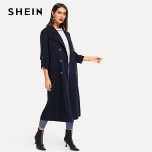 Image 5 - SHEIN 海軍圧延タブスリーブダブルブレストベルト延縄女性の秋ポケットエレガントな Highstreet 上着コート