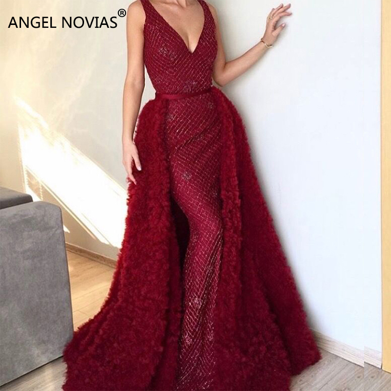 f93df7a41c US $230.0 |ANGEL NOVIAS Long Mermaid Glitter Burgundy Abendkleider Arabic  Evening Dress 2018 Vestido Sirena Largo with Removable Skirt-in Evening ...