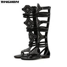 TINGHON  New Fashion Women Gladiator Roman Sandals PU Leather Open Toe Knee High Rivet Leisure Boots Flat