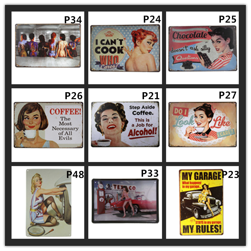 Metal Tin Sign welcome woman cave Bar Pub Home Vintage Retro Poster Cafe ART