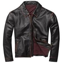European Style Mens Genuine Cow Leather Overcoats Jackets Vintage Biker Flight Mens Leather Coat 4XL Plus Size Streetwear A578