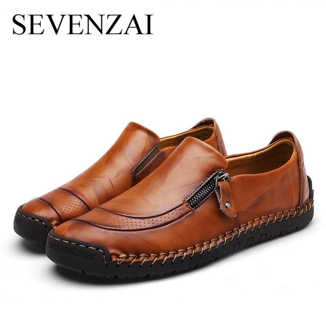 Nuevo 2018 hombres zapatos casuales de cuero primavera cómodo marca de lujo zapatos planos para hombres Venta caliente de los hombres de los holgazanes