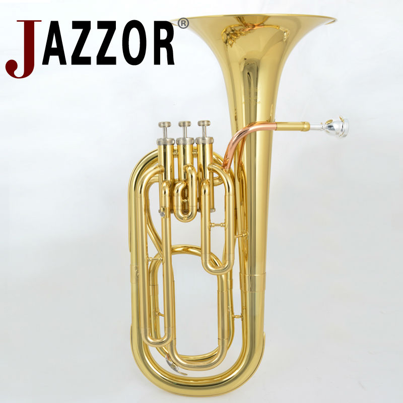 JAZZOR JYBT E100 Professional baritone B Flat high grade Gold Brass wind instrument with mouthpiece and case