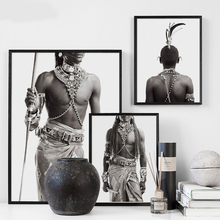 цена на Indian Man Wall Art Canvas Painting Nordic Poster Art Prints Black And White Wall Pictures For Living Room Home Decor Unframed