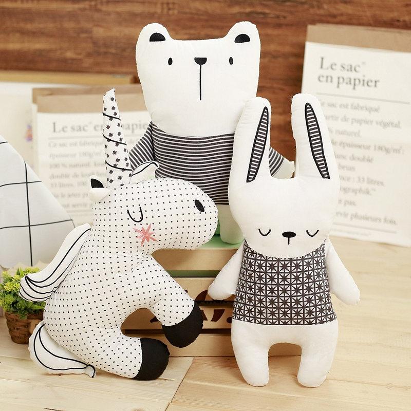 Modern Pillow Nordic Bear Rabbit Unicorn Throw Pillow Cushion Cute Animals Girl Kids Room Cushions  Filling Animal Shape Office