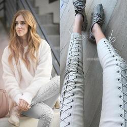 2018 European fashion blog mit einer feder band engen lederhosen füße Pu-leder zeigen dünne frauen neun bleistift hosen