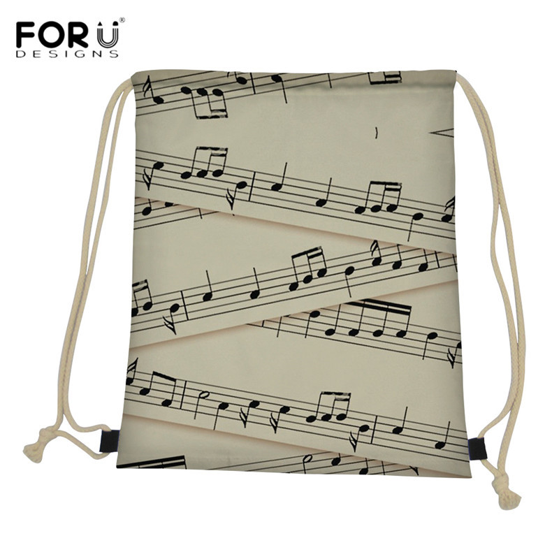 FORUDESIGNS Women Sheet Music Print Drawtring Bags Casual Teenager Girls Travel Softback Durable Women's Yoga Backpacks Mochila