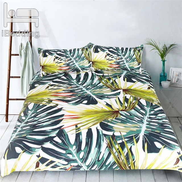 3Pcs/Set Plant Leaves Comforter Bedding Set Monstera Printed White Bed Duvet Covers Sheet Set Home Textile Bedclothes