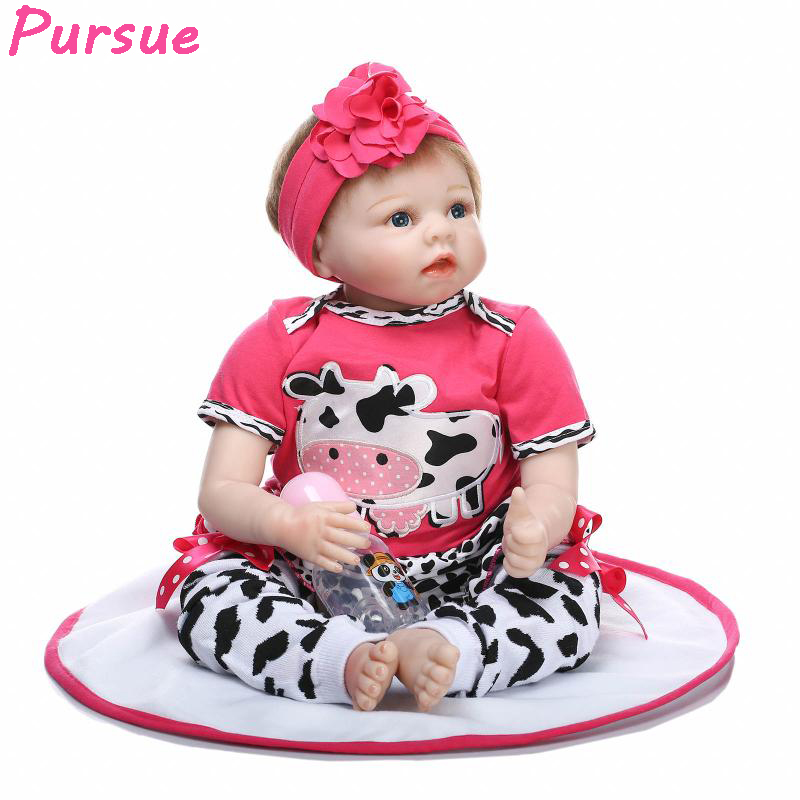 Pursue Doll Reborn American Girl Silicone Reborn Dolls Baby Alive Toys for Children brinquedo menina Christmas New Year Gifts lifelike american 18 inches girl doll prices toy for children vinyl princess doll toys girl newest design