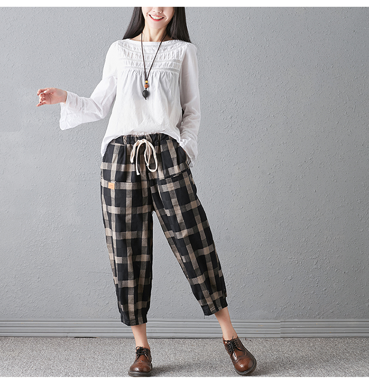 New 2018 Spring And Autumn Artistic Vintage Trousers Women Harlan Pants Woman Pants Loose Linen Pants For Women Plus Size Women 9