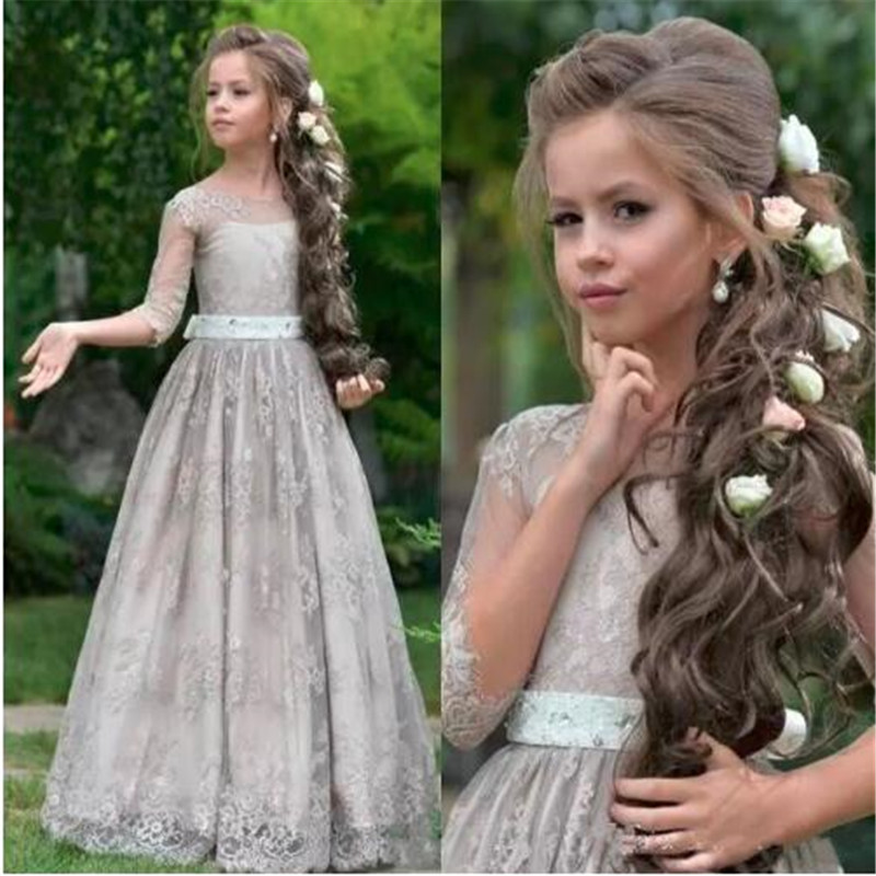 Custom Made New Gray Soft Lace Flower Girl Dress For Country Garden Weddings With Appliques Mesh Prom Dress Girls Pageant Gowns