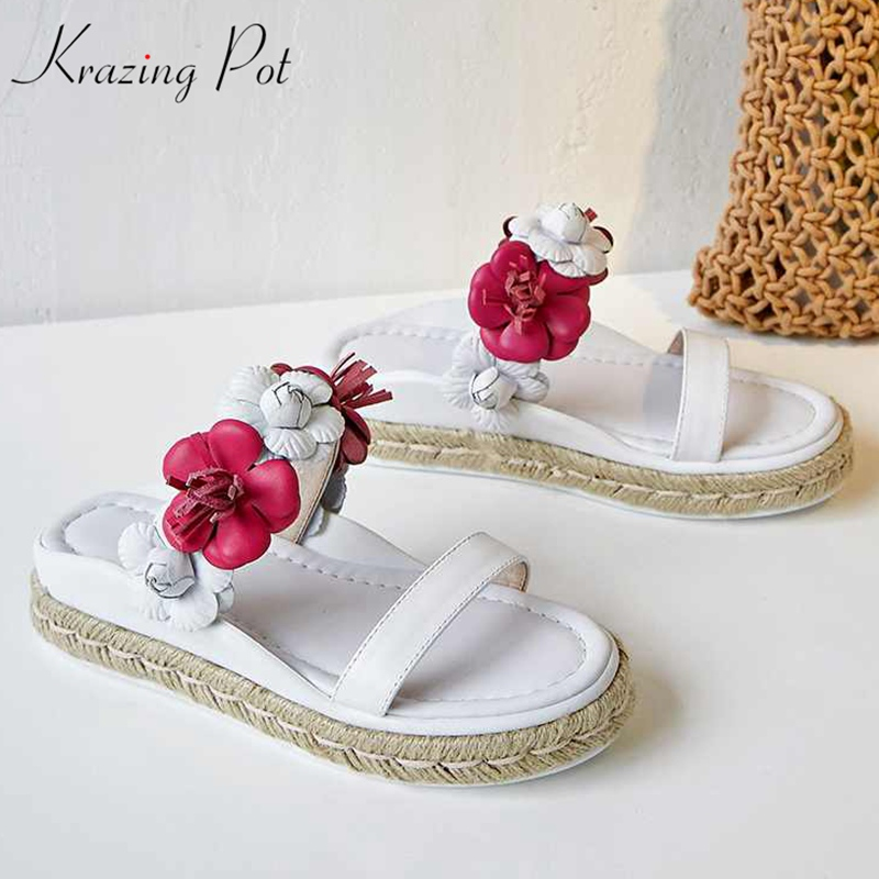 Krazing Pot new mules cow leather three dimensional flowers slipper platform preppy style gorgeous increased luxury