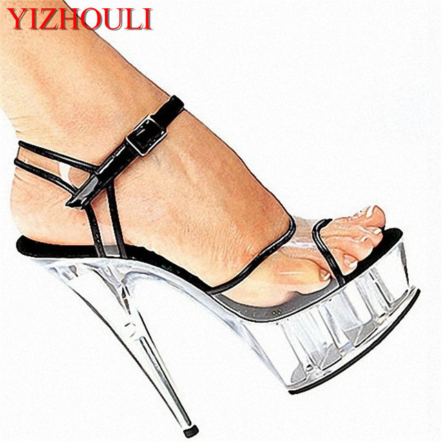 Wholesale fashion women s shoes 15cm ultra high heels sandals 6 inch  platform crystal shoes clear white bordered wedding shoes