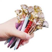 100 pcs 14CM Long Diamond Wafer Ballpoint Pen 0.7mm Blue Writing Pen Student School Gift Ball Pen Like Beauty Metal Crystal Pen