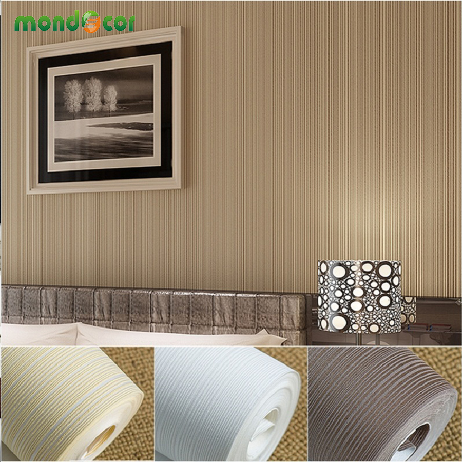 Mondecor top quality mural wallpaper modern striped flock wall papers roll for living room bedroom white