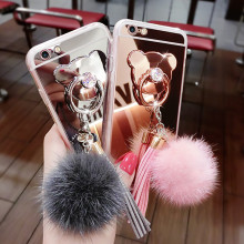Chic Mirror Fur Ball Tassel Cover for iPhone XS Max XR X 8 7 6 6S Plus Ring Case For Samsung Galaxy Note 8 S9 S8 Plus S7 S6 Edge
