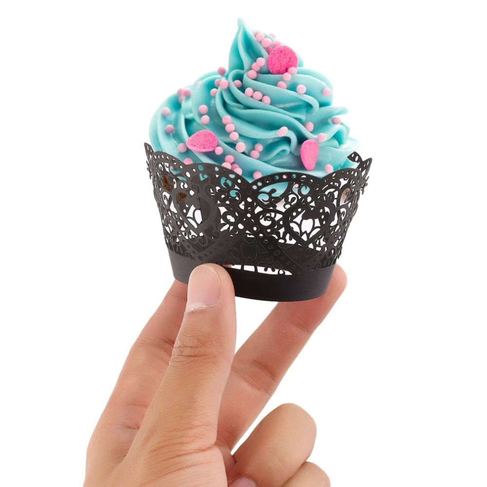 50pcs Laser Cut Cupcake Wrappers Hollow Hearts Muffin Case ...