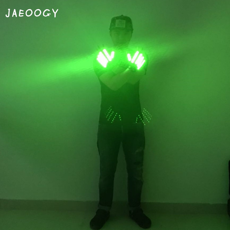 2019 new free shipping luminous gloves night club stage performance LED green gloves Christmas Halloween fluorescent props in Glow Party Supplies from Home Garden