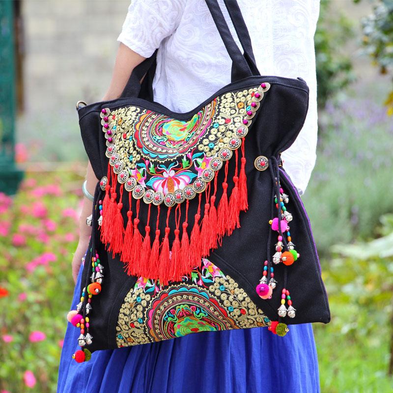 Ethnique Double face brodé femmes sacs à main Vintage gland rivet décontracté épaule messenger sacs