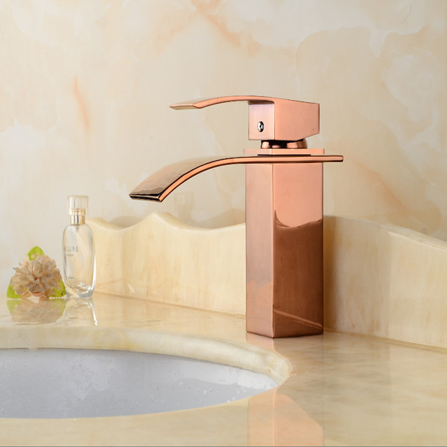 Hot Sale Waterfall Bathroom Faucet Deck Mounted Brass Vanity Sink Mixer Tap  Hot U0026 Cold,