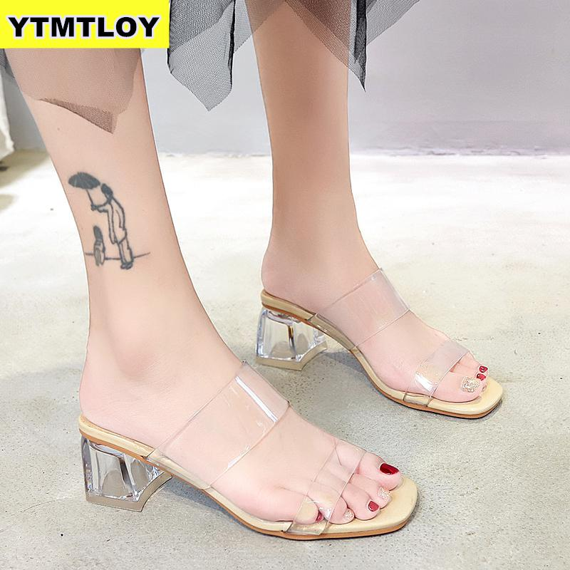 Slippers Women Square Heels Sandals Summer Wedding-Jelly Transparent HOT Pu Damskie Buty