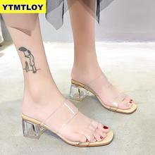 HOT Clear Heels Slippers Women Sandals Summer Shoes Woman Transparent High Pumps Wedding Jelly Buty Damskie Sexy Square Heels