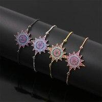 Miễn phí Vận Chuyển NJ Thổ Nhĩ Kỳ Dân Tộc Thép Không Gỉ Màu Sắc Ngôi Sao Pha Lê Charm Bracelet cho Phụ Nữ 4 colors 23 cm mở rộng Hộp chuỗi