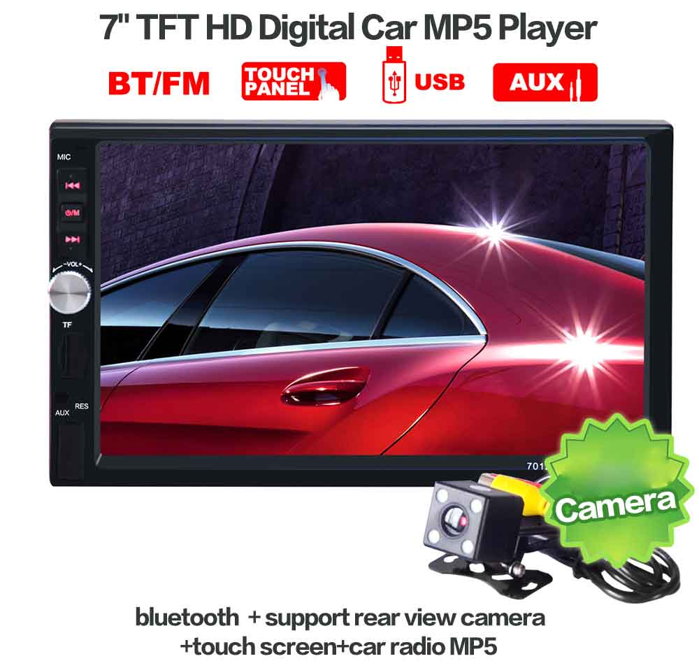 2 Din Car Video Player + Rear View Camera 7 inch Bluetooth Car Radio Auto Audio Stereo MP5 Player Support TF MMC USB FM Radio