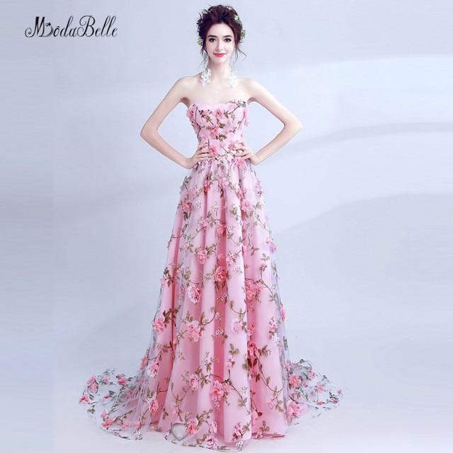 modabelle Elegant Pink Flower Evening Dress 3D Floral Prom Dress ...