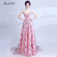 modabelle Elegant Pink Flower Evening Dress 3D Floral Prom Dress Printed Backless Abito Da Sera Lungo Women Formal Gowns 2018