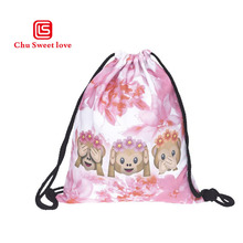 Foldable Fashion Drawstring Bags Soft Healthy Materials Backpack Three Monkeys Large Capacity