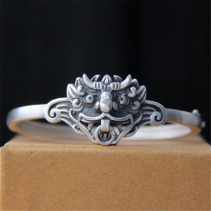 Vintage 990 Sterling Silver Bracelet Mythical Ferocious Animal Cuff Bangle Love Bracelets & Bangles Men Jewelry pulseira masculi цена
