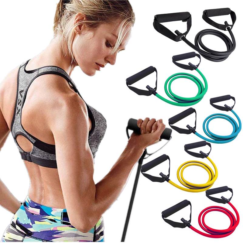 Fitness Elastic Tube Resistance Bands With Foam Handles Pilates Tensile Expander Workout Pull Rope Crossfit Strength Training