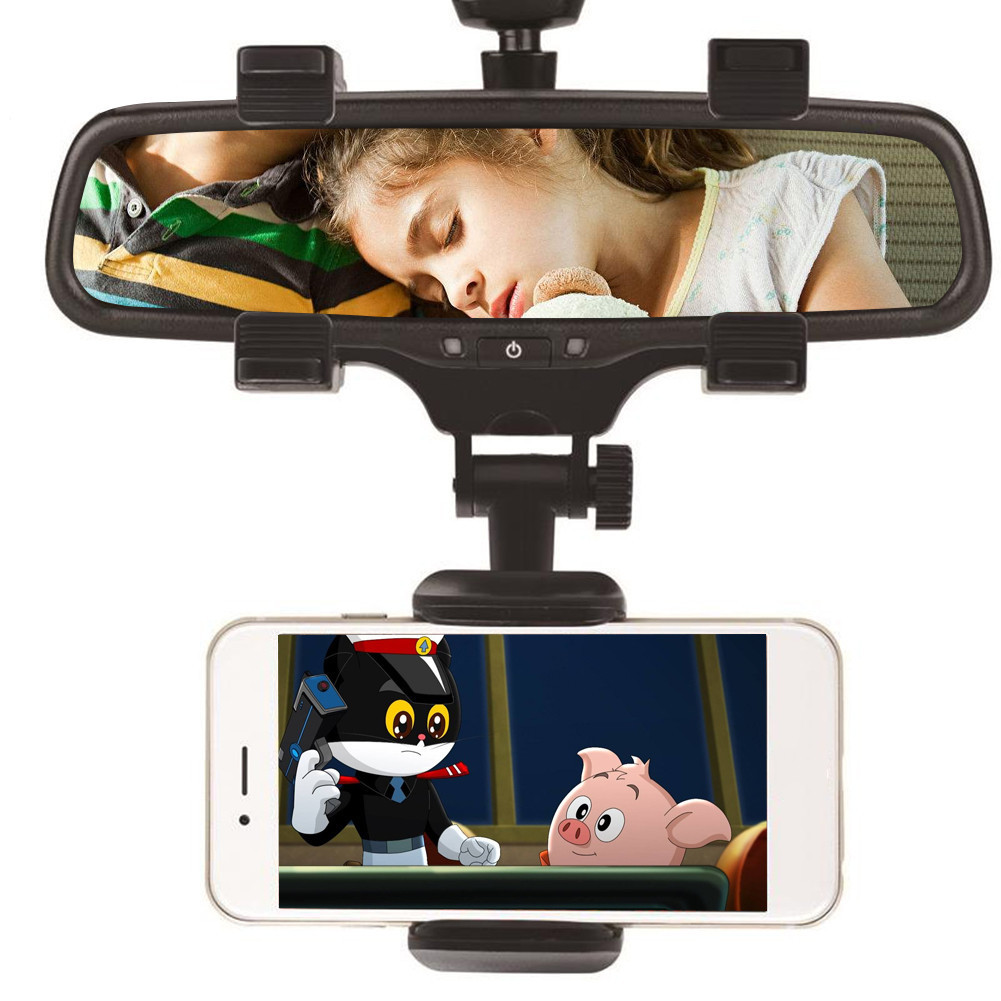 Universal 360 Degrees Car Rearview Mirror Mount Phone Holder Mobile Phone Holder Stands For iPhone Samsung HTC GPS Smartphone