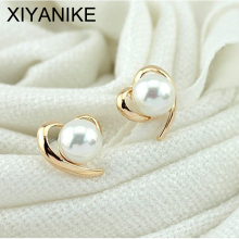 New Fashion Korean Beautiful 18K Gold Plated Shiny Pearl Heart Earring