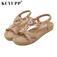 Comfort Women S Sandals Crystal With Rhinestone Beaded Bohemian Sandalias Flip Flop Gladiator Shoes Plus Size