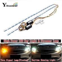 цена на Yituancar 2Pcs/Set 60CM Flexible LED Daytime Running Strip Light Bar Crystal Eyes Flow Turn Signal DRL Car Day Fog Lamp Styling