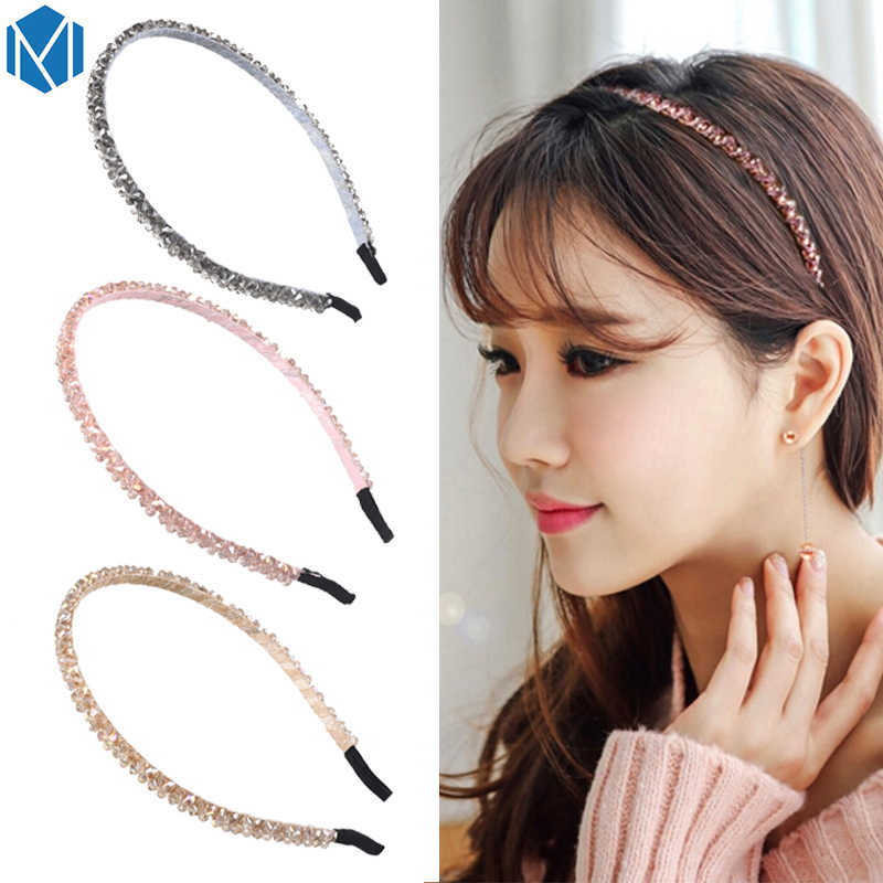 M MISM 2019 Korea Elegant Rhinestone Thin Hair Hoop For Women Girls Brief Glittering Crystal Hair Accessories Fashion Hair Bands