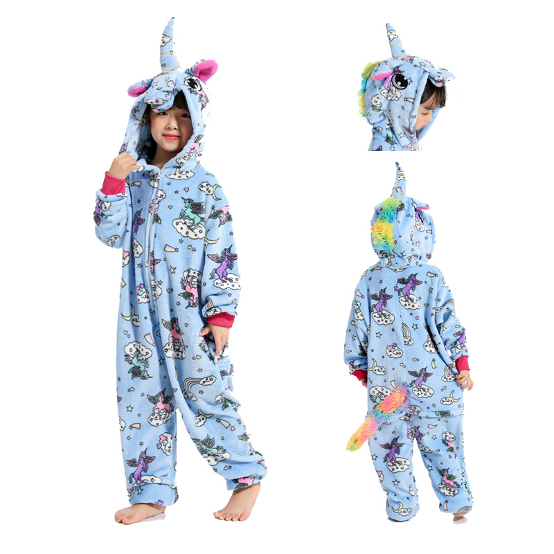 Girls Unicorn Hooded Onezee All in One Pyjama Sleepsuit Dress Up Night Wear