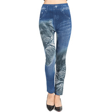High Waisted Print Jeans Leggings Women False Denim Jeggings Femme Elasticity Skinny Seamless Leggins Pants Mujer Summer 2019