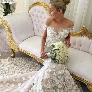 Image 4 - Chengjun Marfim Flor Muito Bonita Da Sereia Fora Do Ombro Do Vestido de Casamento de Luxo