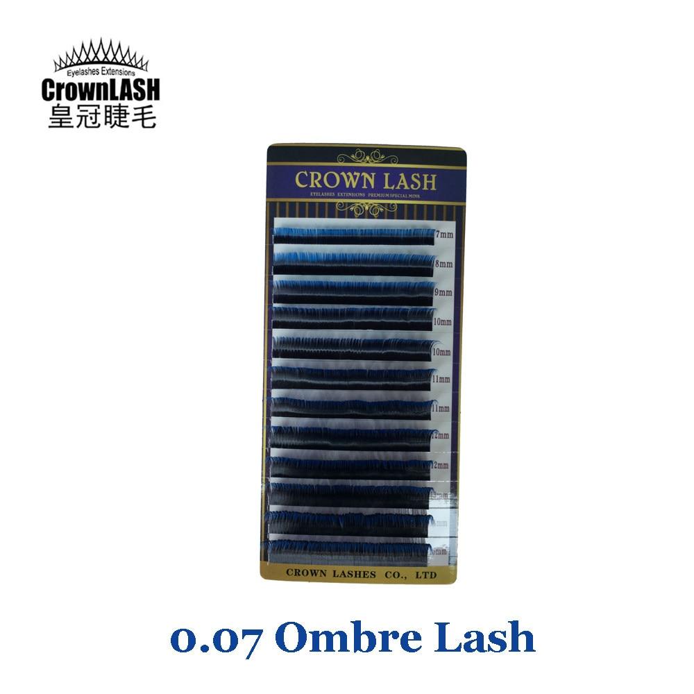 CrownLash Volum Lash extension D 0 07 7 15mm Dual Color Blue Ombre Lash