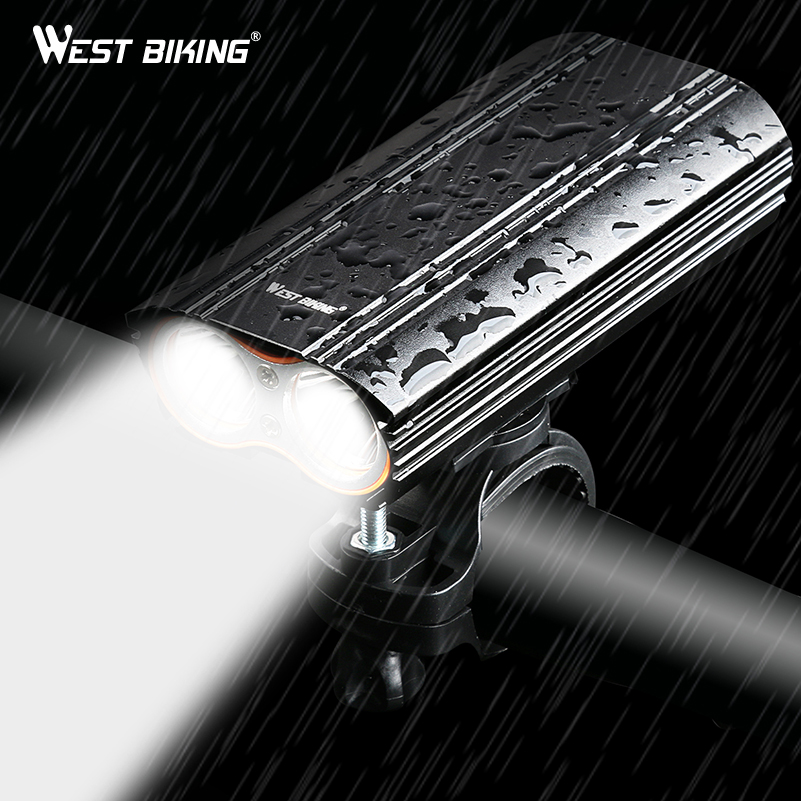 WEST BIKING 2000 Lumens Bike Light Bicycle Headlight Waterproof 2*T6 LED BulbBracket USB Rechargeable Flashlight Bike Light