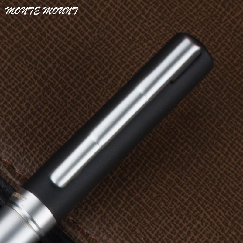 высокое качество Монте крепление черный матовый и серебро 0.7 мм наконечник металл шариковая ручка заправки черные